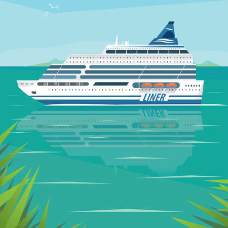away travel: Big beautiful cruise liner slowly floats on flat surface of sea by the shore on a clear day. Side view. Voyage or marine adventure concept