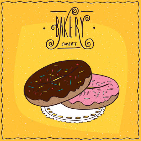 afters: Donuts with chocolate frosting and pink glaze and colored sprinkles, lie on lacy napkin. Yellow background and ornate lettering bakery. Handmade cartoon style