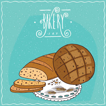 rye bread: Loaf wheat bread with slices and round rye bread, lie on lacy napkin. Cyan background and ornate lettering bakery. Handmade cartoon style Illustration