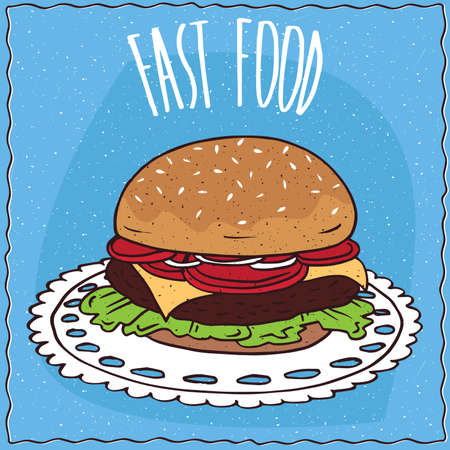 cheese cartoon: Classic steak burger with tomato, cheese, steak and lettuce, lie on a lacy napkin. Blue background and lettering Fast food. Handmade cartoon style