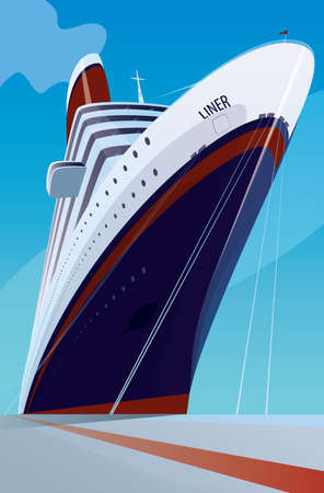 Reusachtig cruiseschip afgemeerd aan de pier. Vooraanzicht. Vervoer of schip aangemeerd begrip
