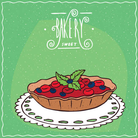 Tartlet with red and blue berries and green leaves, lie on lacy napkin. Green background and ornate lettering bakery. Handmade cartoon style