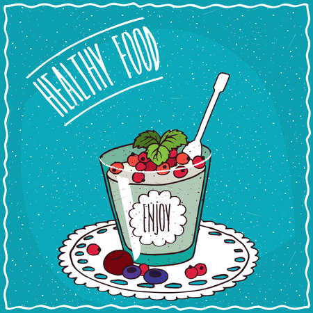 red currant: Natural yogurt with red currant and other berries in a glass, lie on lacy napkin. Blue background and lettering Healthy food. Handmade cartoon style
