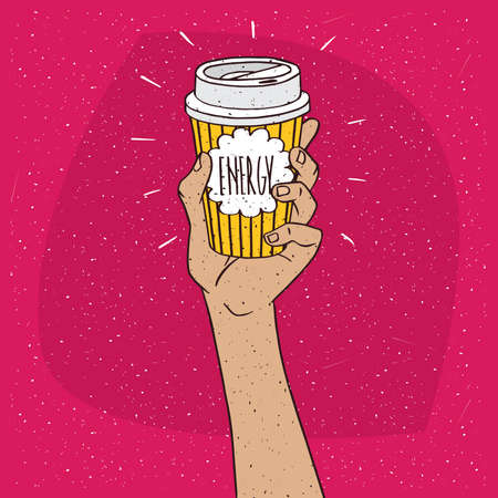 drinkable: Extended upwards hand holding shiny trendy paper cup of coffee, on which the inscription Energy. Red background. Handmade cartoon style
