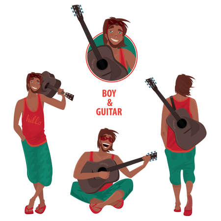 instrumentalist: Set of isolated vector illustrations contains the young guy with guitar, sitting, singing and playing, standing, front and back views. Round emblem with portrait Illustration