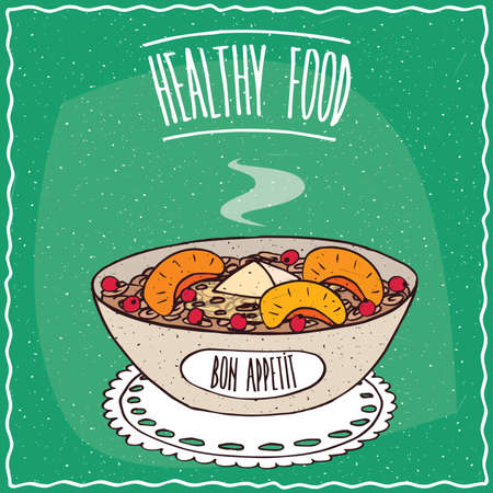 red currant: Bowl of oatmeal with peach and red currant, similar to muesli or granola, lie on lacy napkin. Cyan background and lettering Healthy food. Handmade cartoon style Illustration