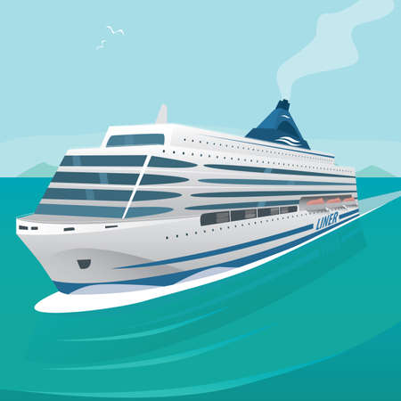 open sea: Big beautiful cruise liner cuts through the waves in the open sea on a clear day. Front view. Marine adventure or voyage concept
