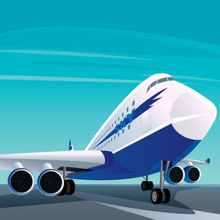 Big white blue modern passenger plane on the runway. On the side there is an inscription sky. Fair weather. Front view Illustration
