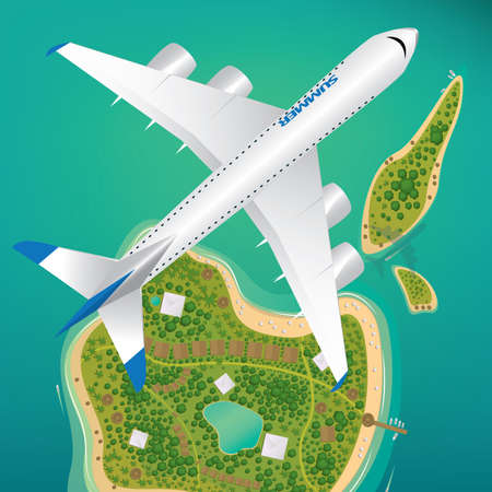 Aircraft flies over few tropical islands of different sizes with beaches and houses. Around float boats. View from above. International flights or air traffic concept
