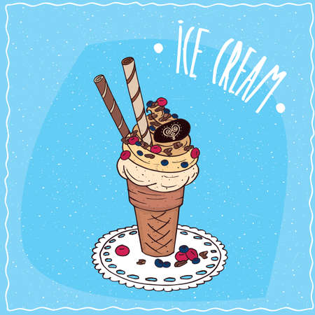 afters: Great waffle cone with vanilla ice cream, sweet tubes, wild berries and chocolate chips, is on the lacy napkin. Blue background. Handmade cartoon style Illustration