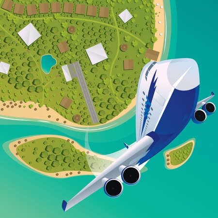 ascend: Big passenger plane takes off upwards, is seen behind a tropical islands with a beach, runway and houses. View from above and front.