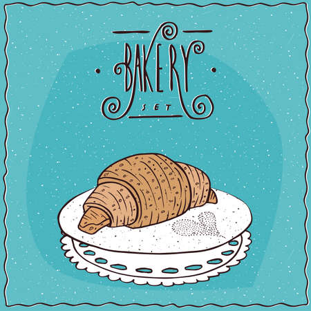 afters: Perfect croissant lie on lacy napkin. Blue background and ornate lettering bakery. Handmade cartoon style