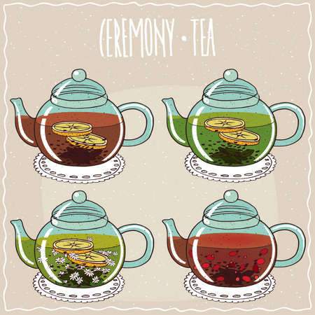 brewed: Set of different brewed black and green teas, with lemon, chamomile, rosehip. Beige background and ornate lettering Ceremony tea. Handmade cartoon style Illustration