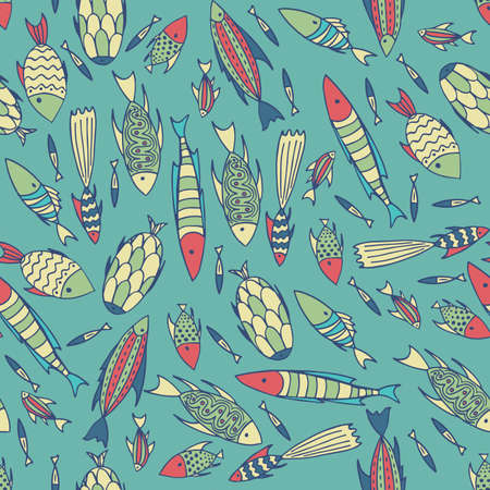 manner: Seamless pattern with small different fishes in a chaotic manner on cyan background. Handmade cartoon style
