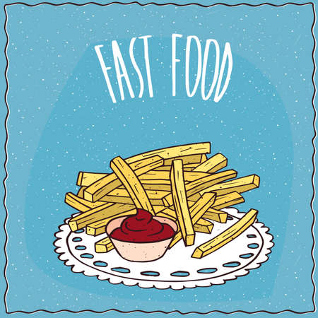 chips and salsa: French fries or finger chips with red liquid flavoring, similar to salsa sauce or ketchup. Blue background and lettering Fast food. Handmade cartoon style Illustration