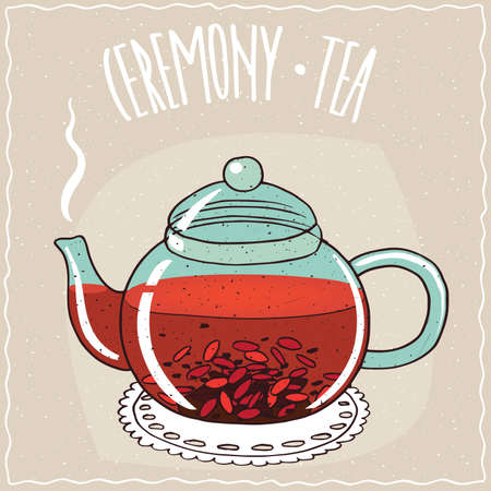 Transparent glass teapot with hot brewed tea with goji berry, lie on a lacy napkin. Beige background and ornate lettering Ceremony tea. Handmade cartoon style