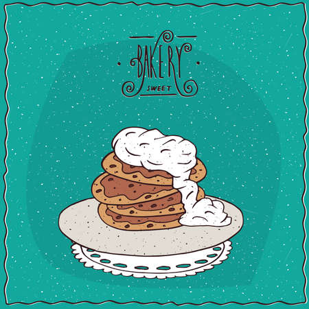 starter: Stack of pancakes with sour cream, lie on lacy napkin. Cyan background and ornate lettering bakery. Handmade cartoon style Illustration