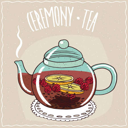 brewed: Transparent glass teapot with hot brewed tea raspberry, lie on a lacy napkin. Beige background and ornate lettering Ceremony tea. Handmade cartoon style Illustration