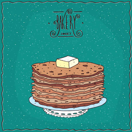afters: Stack of thin pancakes with slice of butter, lie on lacy napkin. Cyan background and ornate lettering bakery. Handmade cartoon style