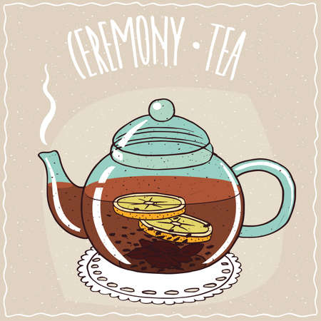 brewed: Transparent glass teapot with hot brewed black tea with lemon, lie on a lacy napkin. Beige background and ornate lettering Ceremony tea. Handmade cartoon style