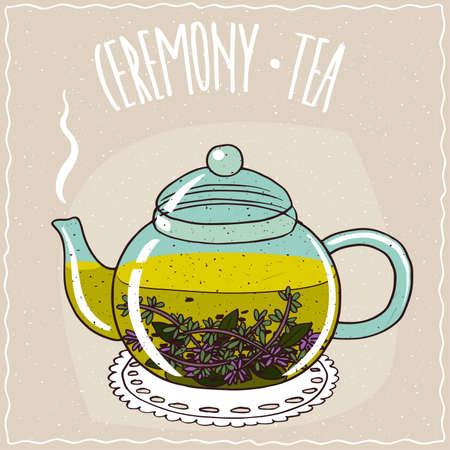 brewed: Transparent glass teapot with hot brewed tea with thyme, lie on a lacy napkin. Beige background and ornate lettering Ceremony tea. Handmade cartoon style