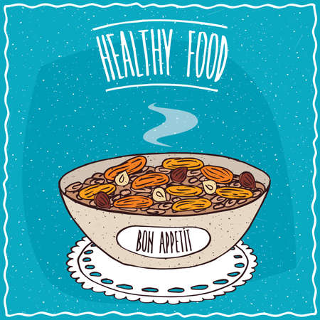 apricots: Bowl of oatmeal with dried apricots and hazelnuts, similar to muesli or granola, lie on lacy napkin. Blue background and lettering Healthy food. Handmade cartoon style
