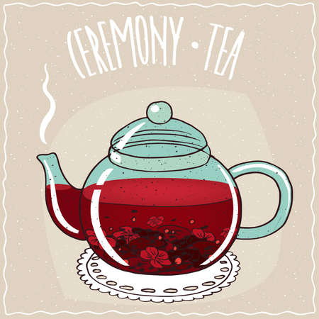 brewed: Transparent glass teapot with hot brewed hibiscus tea, lie on a lacy napkin. Beige background and ornate lettering Ceremony tea. Handmade cartoon style
