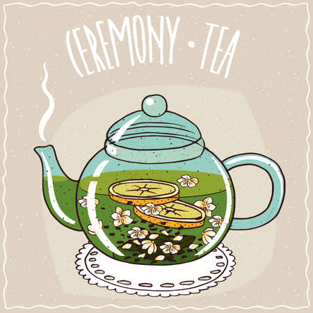 Transparent glass teapot with hot brewed tea with jasmine, lie on a lacy napkin. Beige background and ornate lettering Ceremony tea. Handmade cartoon style Illustration