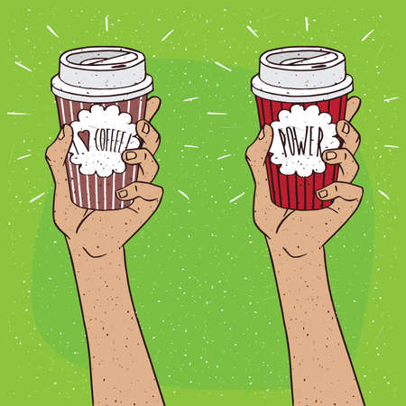 Set of two extended upwards hands holding shiny trendy paper cup of coffee, on which the inscription I love coffee or Power. Green background. Handmade cartoon style