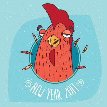 harbinger: Cartoon drunken cock or rooster has covered eyes in round frame on blue background. New Year 2017 lettering