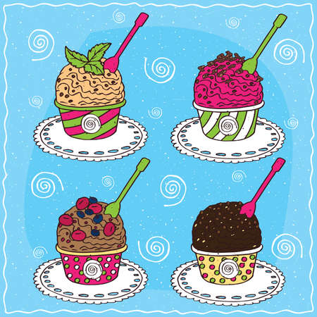 Set of different scoop of ice cream, Vanilla with mint leaves, Fruit with chocolate chips, Dark chocolate, Chocolate with berries. Handmade cartoon style