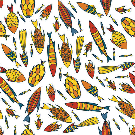 vertebrate: Seamless pattern with small different fishes in a chaotic manner on white background. Handmade cartoon style