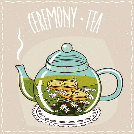 brewed: Transparent glass teapot with hot brewed chamomile tea, lie on a lacy napkin. Beige background and ornate lettering Ceremony tea. Handmade cartoon style