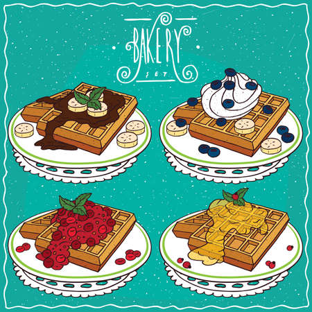 Set of different Belgian waffles, with chocolate and banana, with honey, red berries or blue berries, banana and whipped cream. Handmade cartoon style