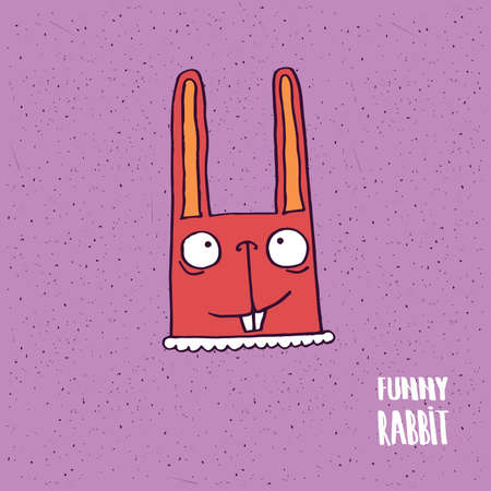 Cute rabbit with big ears on slightly desaturated magenta background. Lettering funny rabbit. Handmade cartoon style Illustration