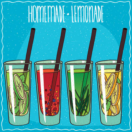 Set of homemade lemonade such as Lime or mojito, Red berry, Tarragon or Classic lemon. Blue background. Handmade cartoon style