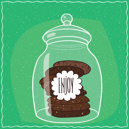 afters: Large transparent glass jar with stack of round chocolate cookies inside. Cyan background. Handmade cartoon style