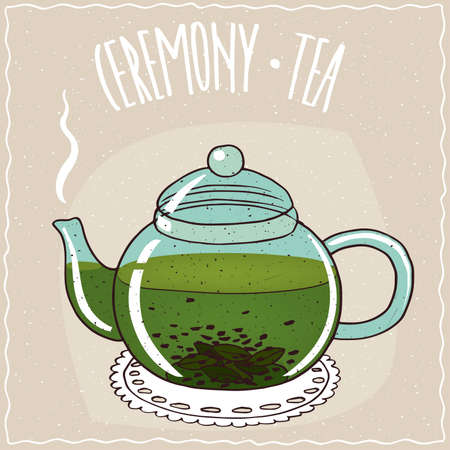 Transparent glass teapot with hot brewed green tea, lie on a lacy napkin. Beige background and ornate lettering Ceremony tea. Handmade cartoon style