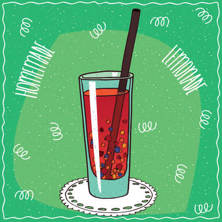 drinkable: Homemade red berry lemonade in a glass with straw, lie on lacy napkin. Green background. Handmade cartoon style