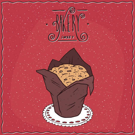afters: Beautiful muffin in brown paper muffin cup, lie on a lacy napkin. Red background and ornate lettering bakery. Handmade cartoon style Illustration