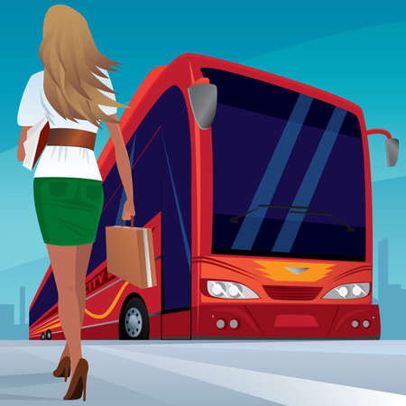 omnibus: Beautiful young adult woman in a short skirt walks slowly to red modern passenger bus. In case one hand, and the other a sheaf of papers