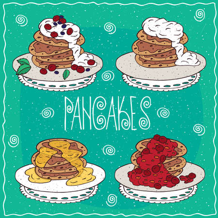 afters: Set of different pancakes, with honey, sour cream, red berries, cherry or currant. Handmade cartoon style
