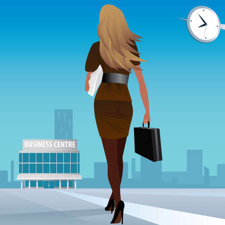 Beautiful girl in a business suit goes in the business center, in case one hand, and the other a sheaf of papers. Go to work or business meeting concept