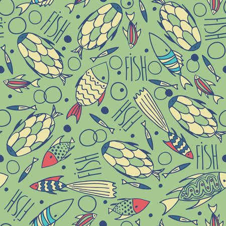 manner: Seamless pattern with small different fishes in a chaotic manner on green background. Handmade cartoon style Illustration