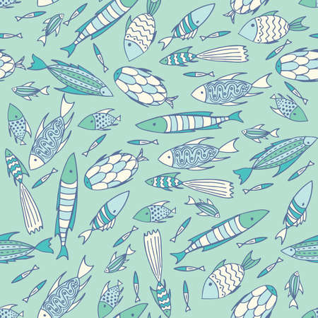 manner: Seamless pattern with small different fishes in a chaotic manner on soft blue background. Handmade cartoon style Illustration