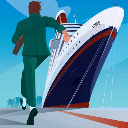 Young adult man in a business suit at the dock running to big cruise ship. Missing or late concept