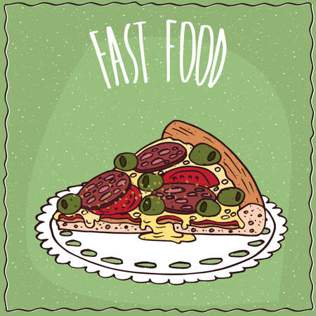 pizza crust: Piece of delicious Italian pizza on thin crust with sausage, olives and melted cheese. Green background and lettering Fast food. Handmade cartoon style
