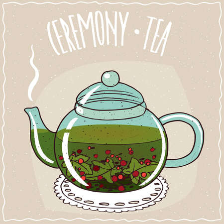 brewed: Transparent glass teapot with hot brewed tea currant, lie on a lacy napkin. Beige background and ornate lettering Ceremony tea. Handmade cartoon style Illustration