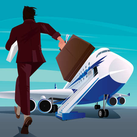 Young adult man in a business suit on the runway running to big modern passenger plane. Missing or late concept Illustration