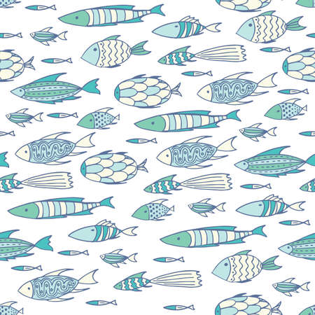 shoal: Seamless pattern with shoal of small different fishes on soft white background. Handmade cartoon style